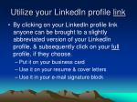 utilize your linkedin profile link