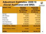 adjustment estimates 2009 10 social assistance and srd