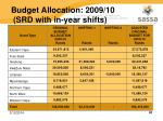 budget allocation 2009 10 srd with in year shifts