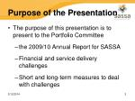 purpose of the presentation