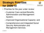 strategic priorities for 2009 10