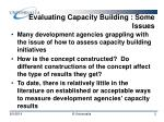 evaluating capacity building some issues