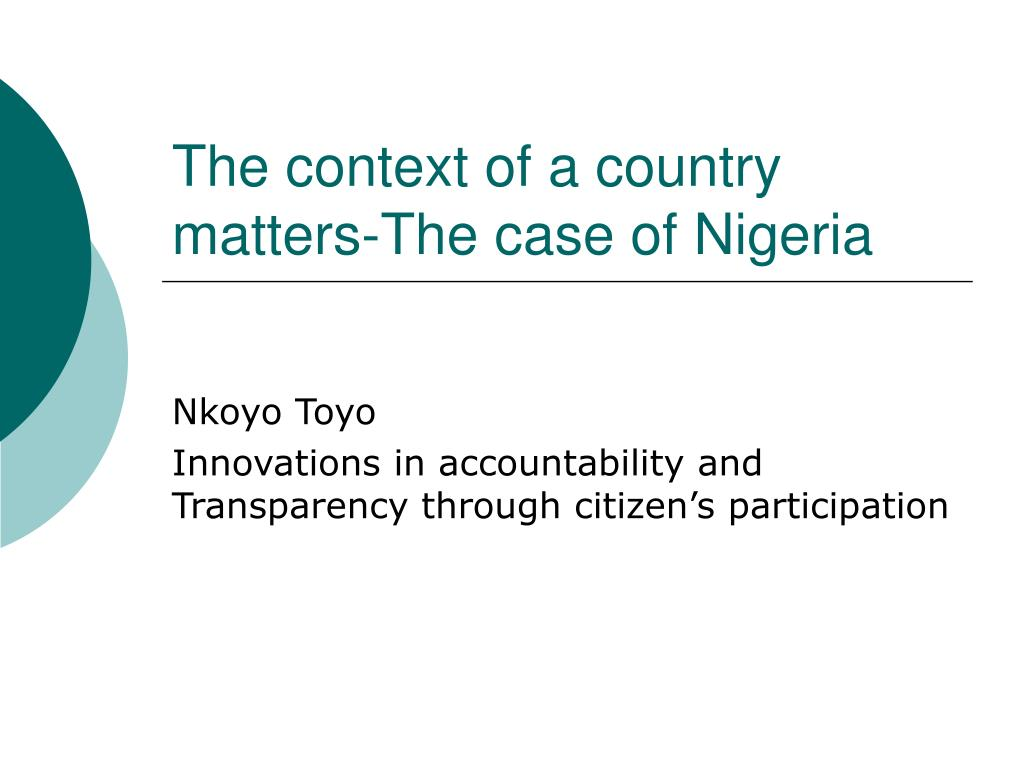 the context of a country matters the case of nigeria l.