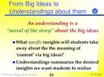 from big ideas to understandings about them