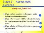 stage 2 assessment evidence