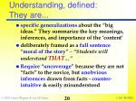 understanding defined they are
