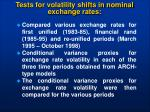 tests for volatility shifts in nominal exchange rates