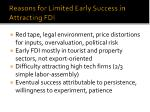 reasons for limited early success in attracting fdi