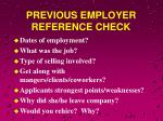 previous employer reference check