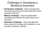 challenges in developing a workforce scorecard