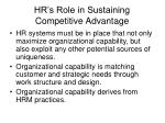 hr s role in sustaining competitive advantage