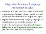 cognitive academic language proficiency calp