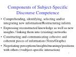 components of subject specific discourse competence