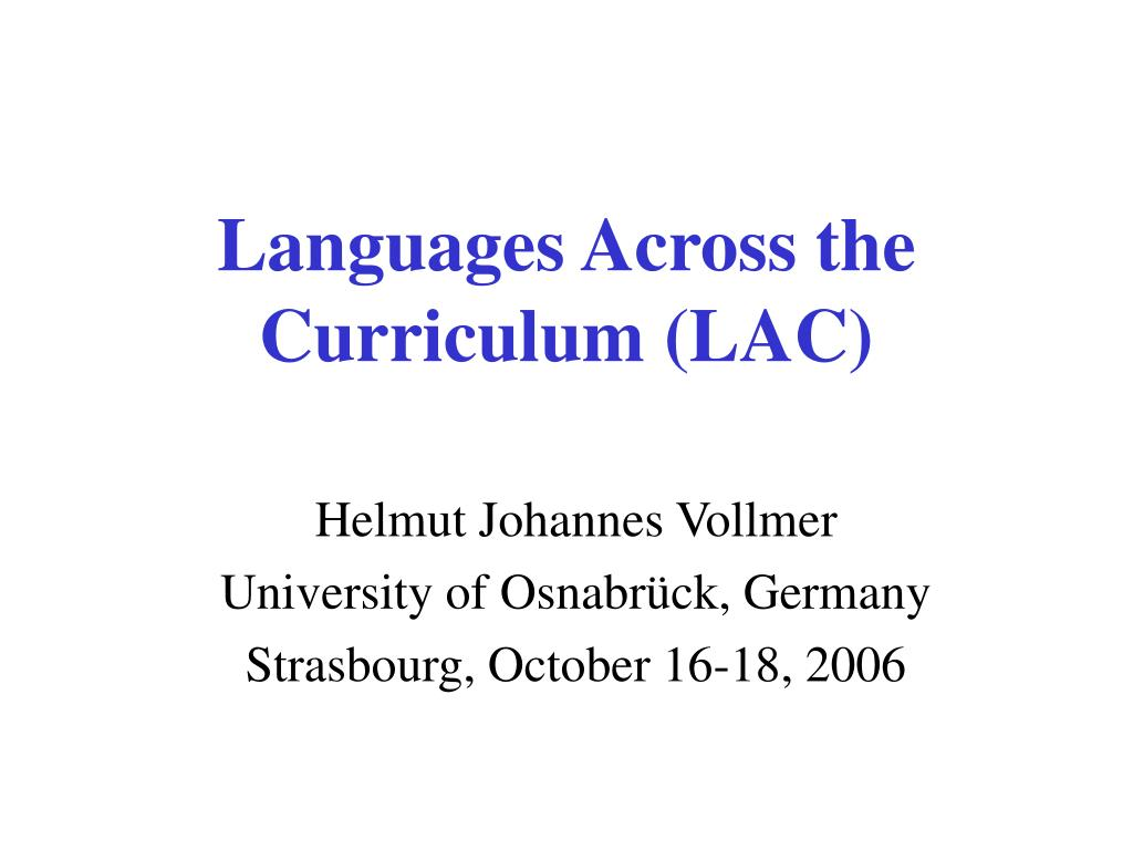 languages across the curriculum lac l.