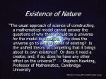 existence of nature