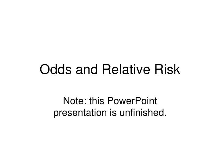 odds and relative risk n.