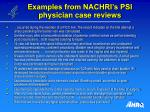 examples from nachri s psi physician case reviews26