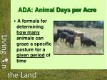 ada animal days per acre