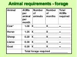 animal requirements forage