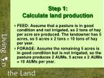 step 1 calculate land production