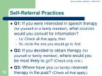 self referral practices