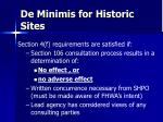 de minimis for historic sites