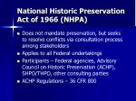 national historic preservation act of 1966 nhpa