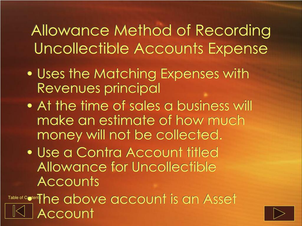 Allowance Method of Recording Uncollectible Accounts Expense