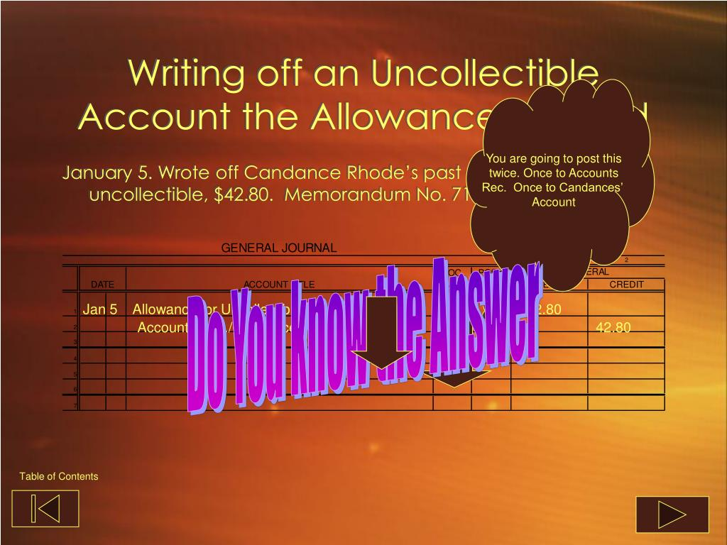 Writing off an Uncollectible Account the Allowance Method