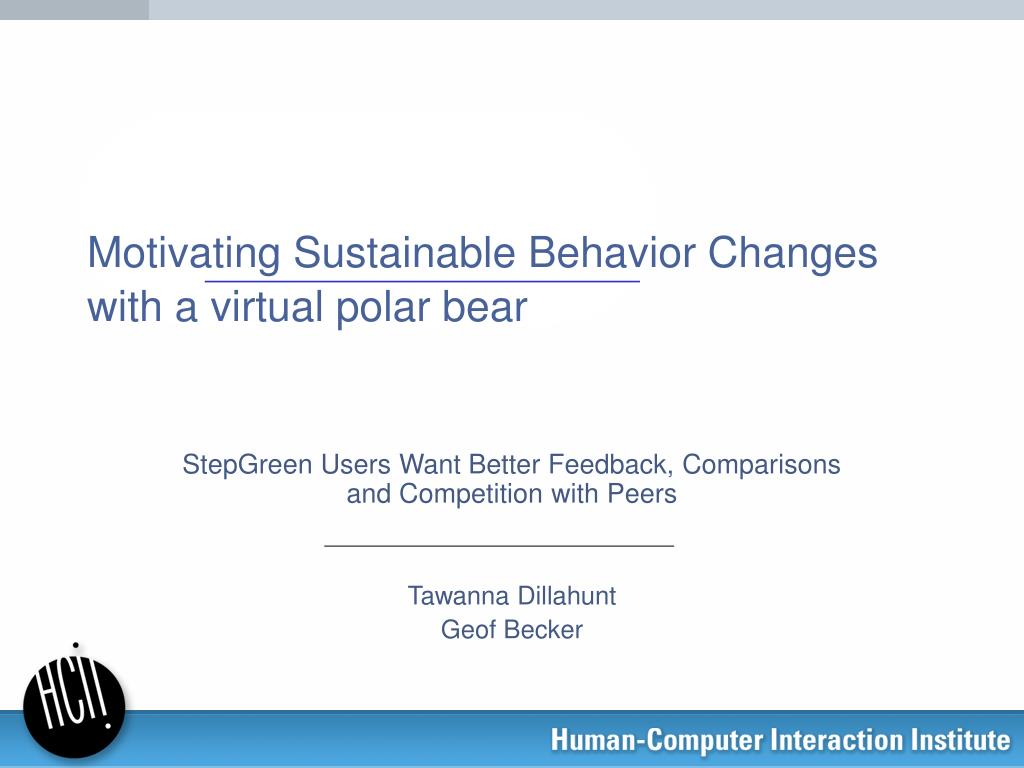 motivating sustainable behavior changes with a virtual polar bear l.