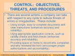 control objectives threats and procedures58