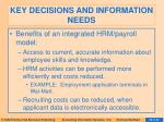 key decisions and information needs65