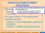 threats in employment practices