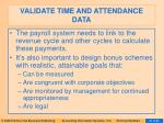 validate time and attendance data31