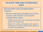 validate time and attendance data32
