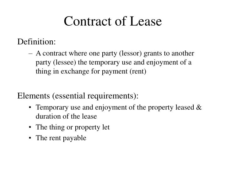 Ppt Contract Of Lease Powerpoint Presentation Id358062
