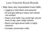 low volume rural roads