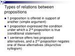 types of relations between propositions
