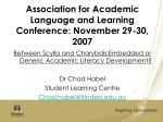 association for academic language and learning conference november 29 30 2007