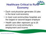 healthcare critical to rural economy