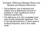 examples differences between means and absolute and relative differences