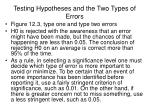 testing hypotheses and the two types of errors