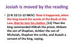 josiah is moved by the reading