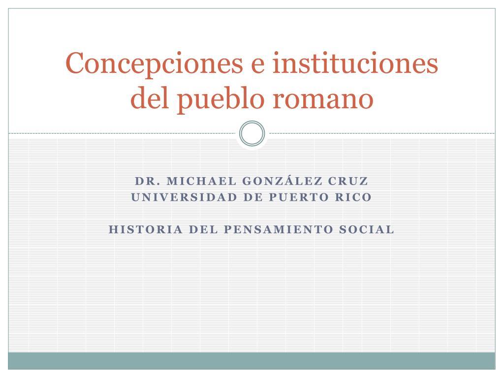 concepciones e instituciones del pueblo romano l.