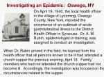 investigating an epidemic oswego ny