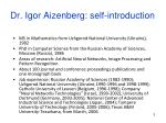 dr igor aizenberg self introduction