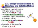 13 7 energy considerations in planetary and satellite motion