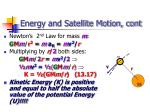 energy and satellite motion cont