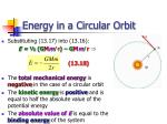 energy in a circular orbit
