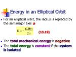 energy in an elliptical orbit